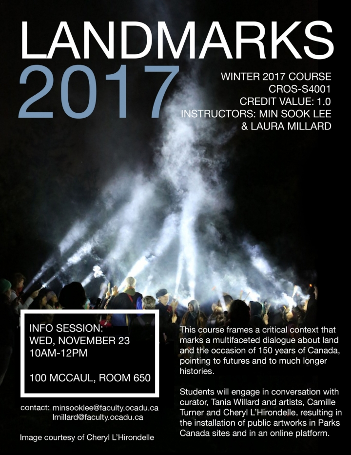 info session poster with text superimpossed on a photo of people at night with beams of lighted smoke