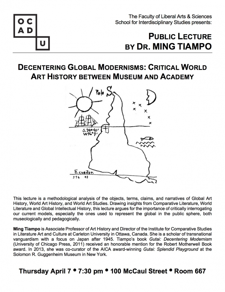 Public Lecture by Dr. Ming Tiampo with event info, OCAD U logo and drawing of South America