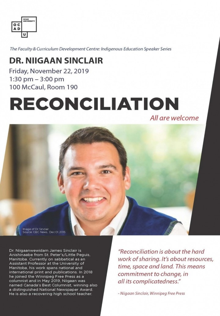Poster of Niigaan Sinclair talk at OCAD U on Nov 22, 2019