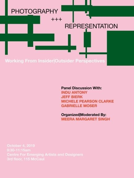 poster for panel talk, pink bg with green shapes