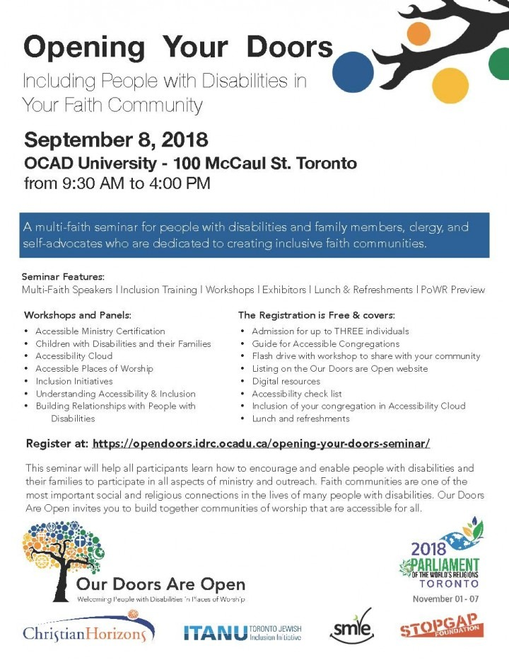 Seminar Event Details available at  https://opendoors.idrc.ocadu.ca/opening-your-doors-seminar/
