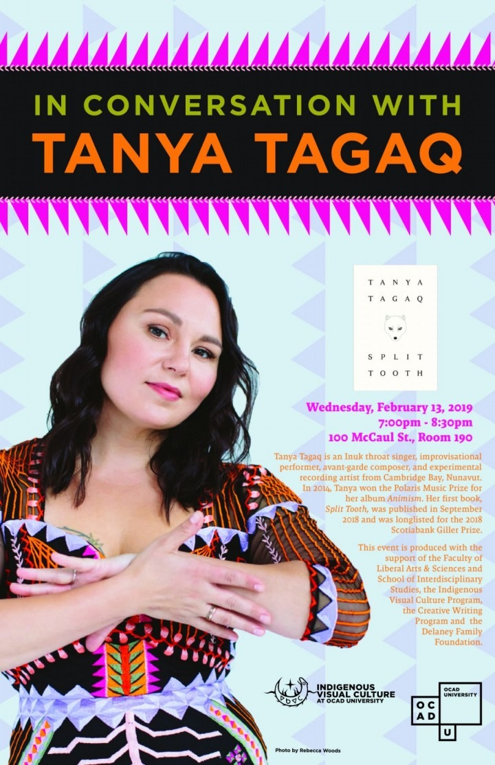 """""""In Conversation With Tanya Tagaq"""" photograph of Tanya Tagaq smiling warmly and the cover of her novel, Split Tooth"""