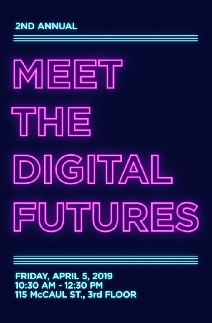 """Meet the Digital Futures"" written to look like neon lights"