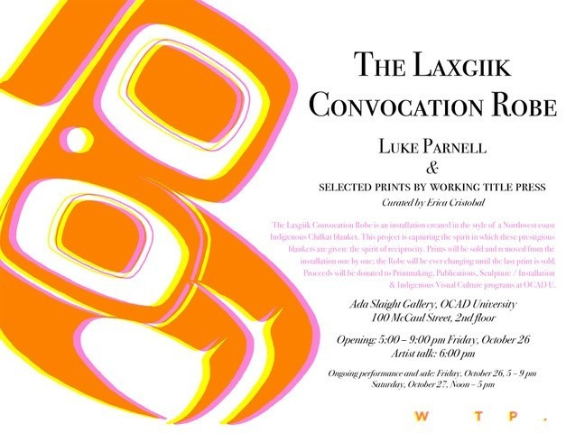 "Right: ""The Laxgiik Convocation Robe"" black text on white background. Left: orange, yellow and pink Northwest coast style image"