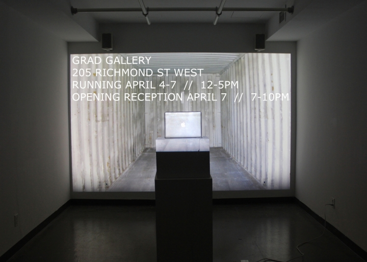 OCADu Graduate Gallery, April 4-7, 2016 from 12-5pm daily. Opening reception April 7 from 7-10