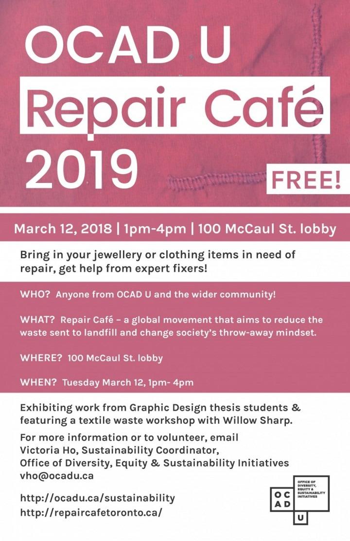OCAD U Repair Cafe 2019 event details
