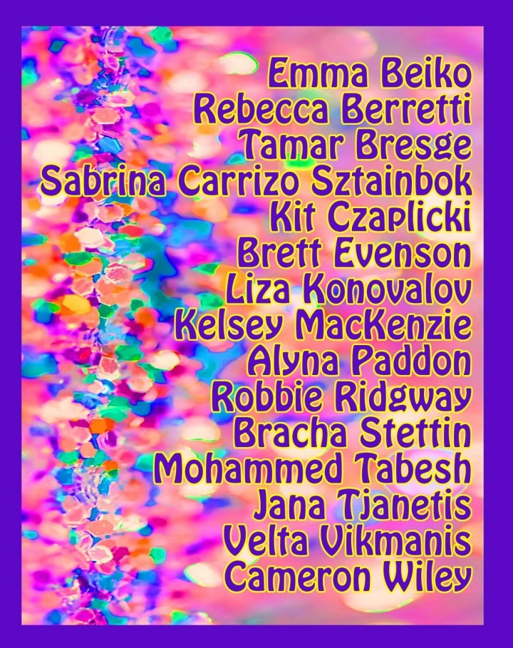 poster with colourful background and student names
