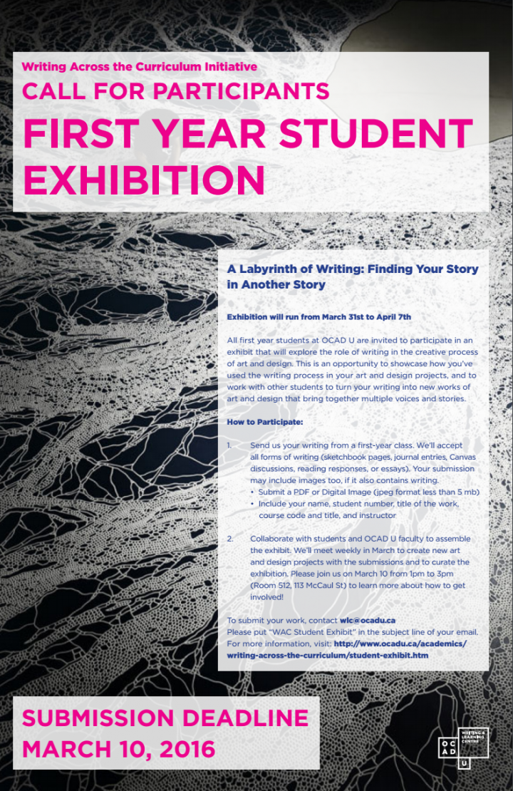 CALL FOR PARTICIPANTS FIRST YEAR STUDENT EXHIBITION poster with event info