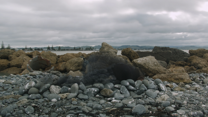 asinnajaq, Rock Piece (Ahuriri edition), 2018. Video still. Video, colour, sound, 4 min. 2 sec.