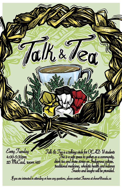 Talk & tea poster with event info and illustration of tea cup surrounded by medicine