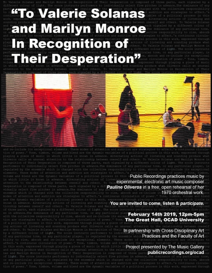 event poster with text and photo of a public performance art piece