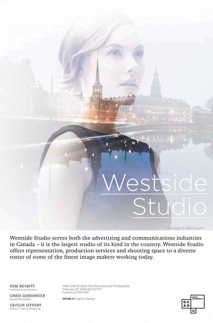 Westside Studio poster with event info and photo of a woman superimposed on buildings beside a river