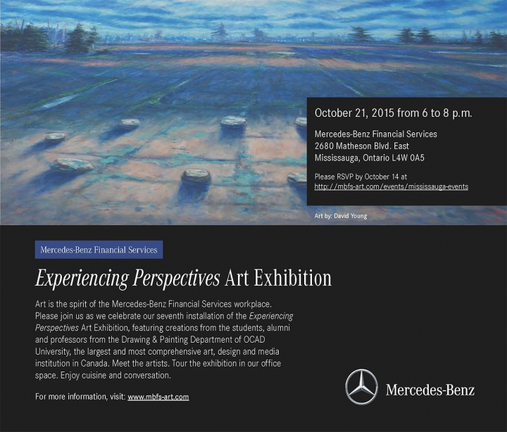 Experiencing Perspectives Art Exhibition poster with event info, Mercedes-Benz logo and landscape painting by David Young