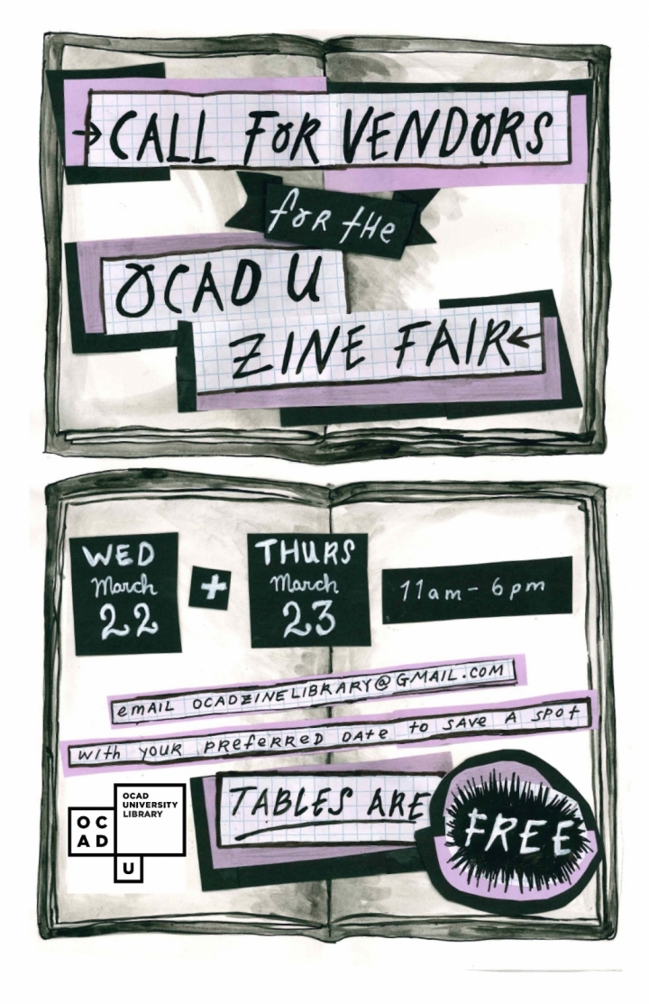 image of two open books overlapped with cut and paste text. Title reads: call for vendors for the OCADU Zine Fair.