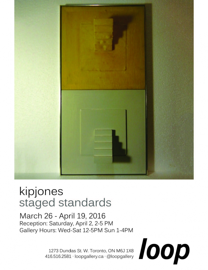 poster for staged standards by Kip Jones image of 3 dimensional wall artwork and text with details of show