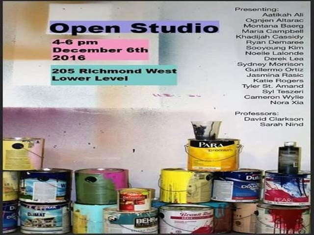 Drawing & Painting Advanced Studio Open Studio poster.  Photo of paint cans with test ovelay