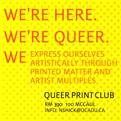 queer print club poster with drop in times