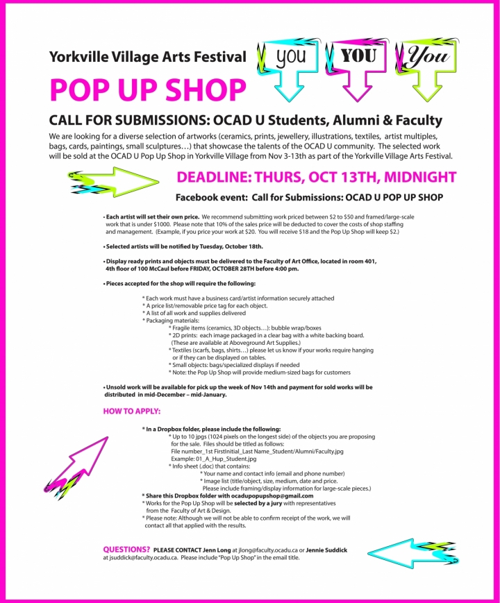 Pop up Shop call for submissions, text with submission specs on white background
