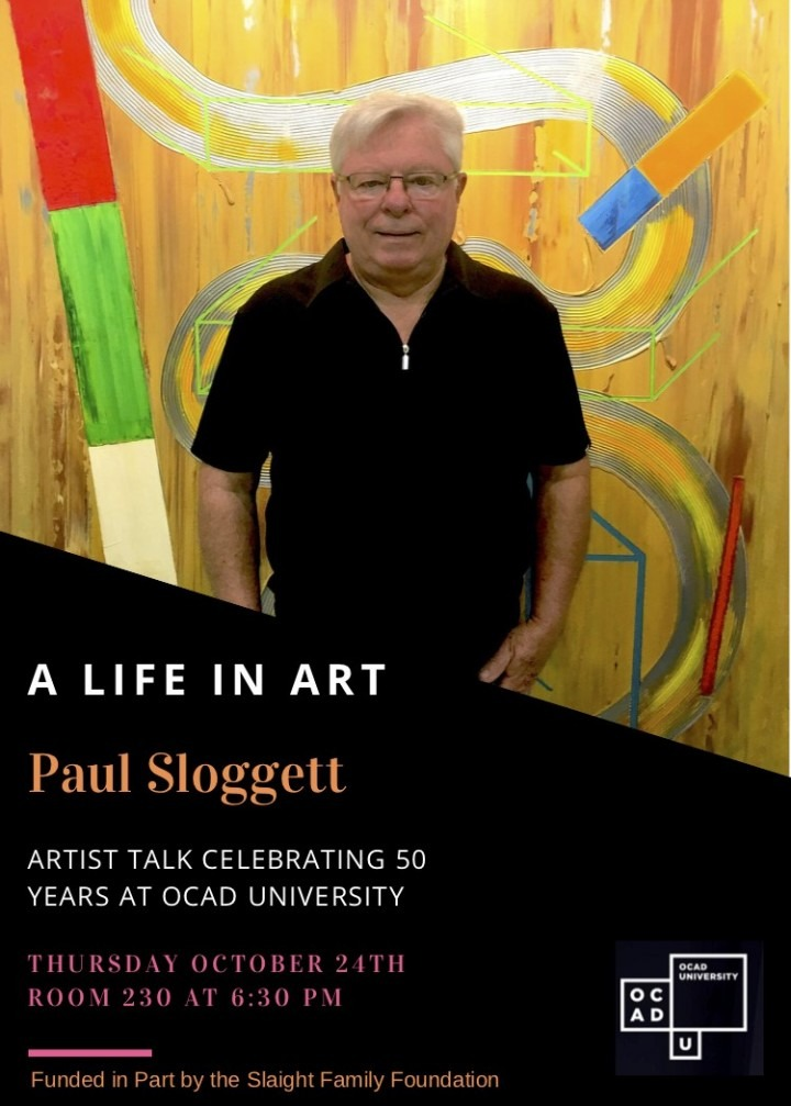 poster for artist talk, featuring a photo of the artist in front of a painting