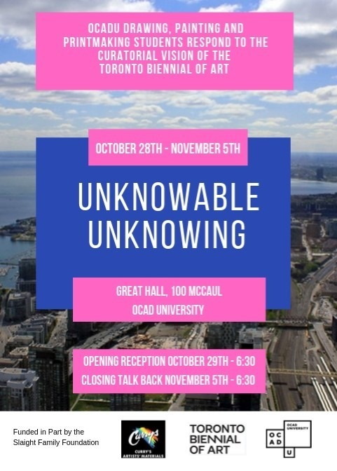 poster for exhibition with text in pink and blue bars