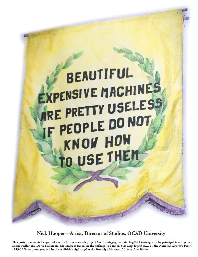 "Poster reading ""Beautiful expensive machines are pretty useless if people do not know how to use them"" - Nick Hooper"