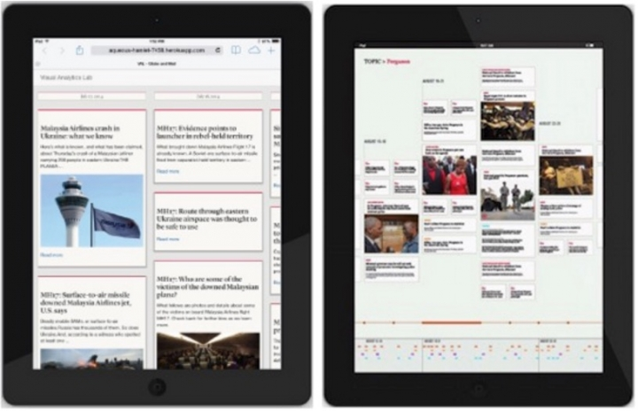 Screenshot from the Infinite Canvas - a tablet display for news search results