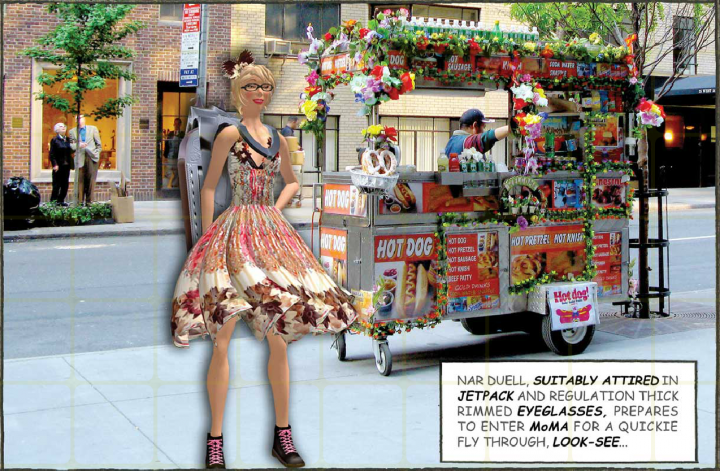 Digital image of a person standing in front of a street vendor cart.