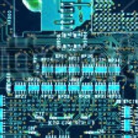 Circuit board tinted cyan