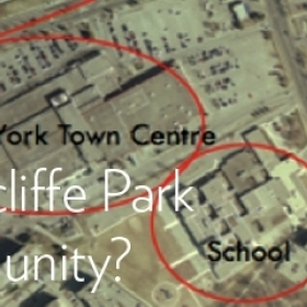 """Bird's view satellite image of a Toronto neighbourhood with overlaid text reading: What makes Thorncliff Park a Welcoming Community?"""""""
