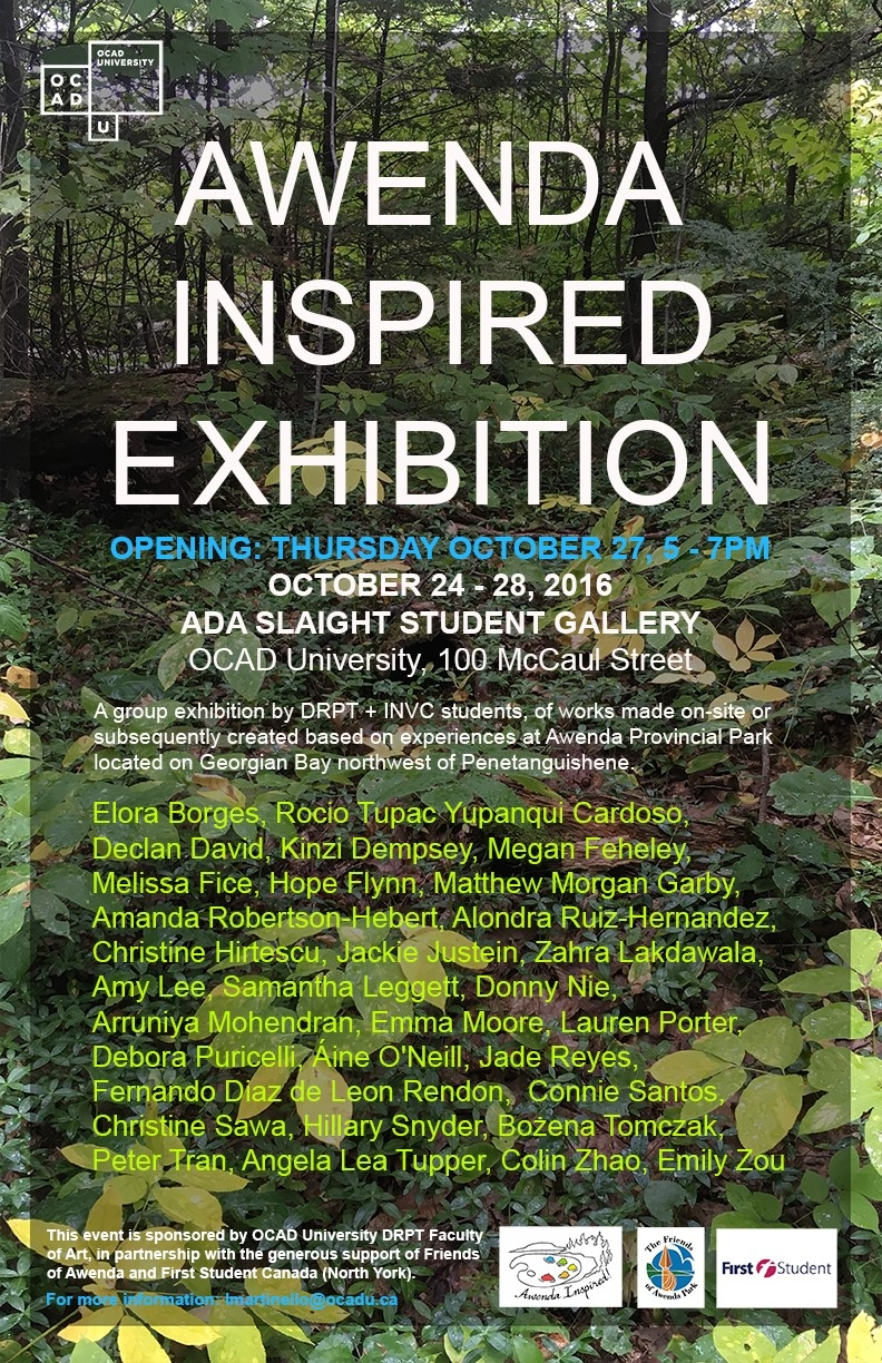 Awenda Inspired Exhibition poster with event info and photo of forest