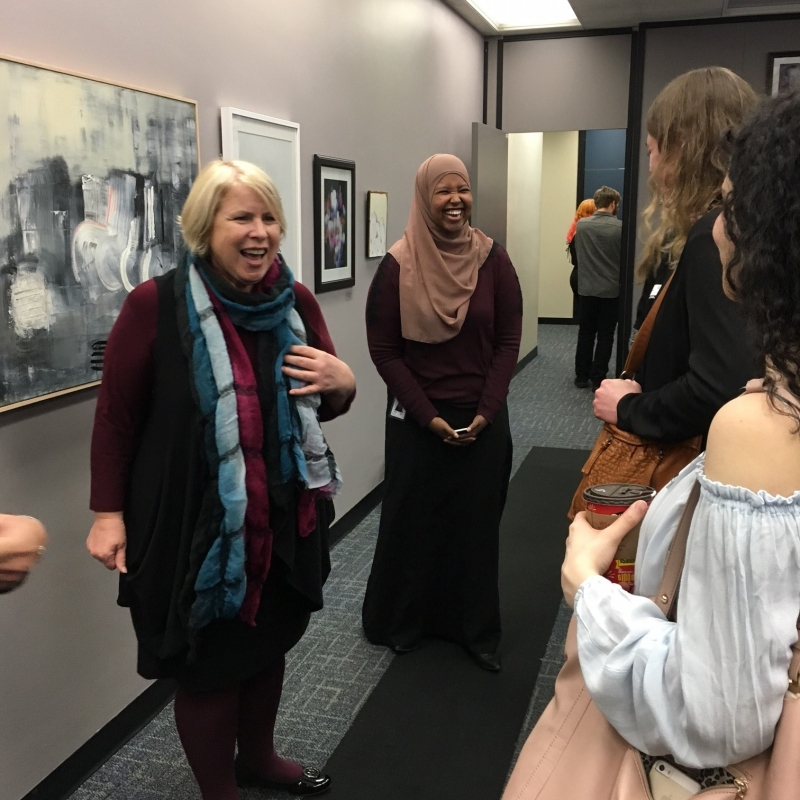 Minister Deb Matthews meets with artists in her office