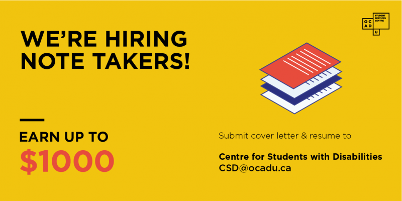 Poster about hiring Note Takers