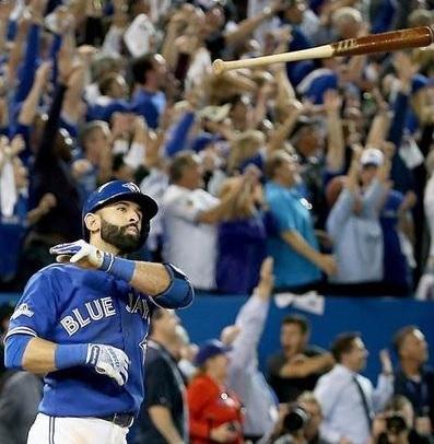 Bautista flips his bat.