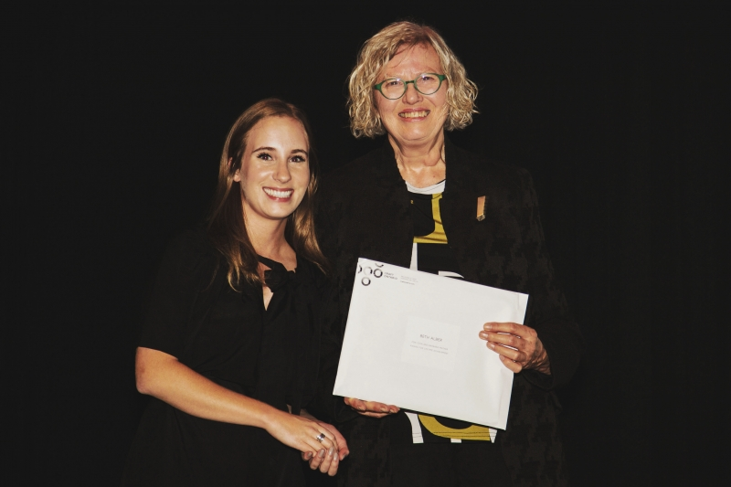 Photo of two women, Beth Alber, award recipient