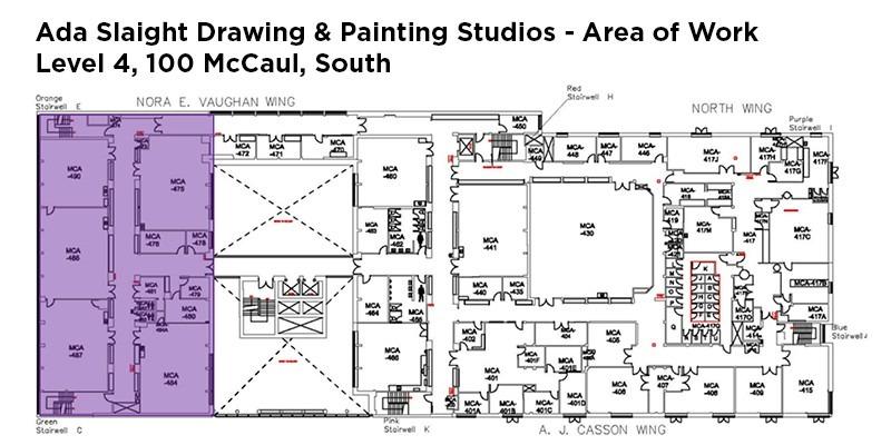Floor plate image describing area of work in Level 4 south, 100 McCaul