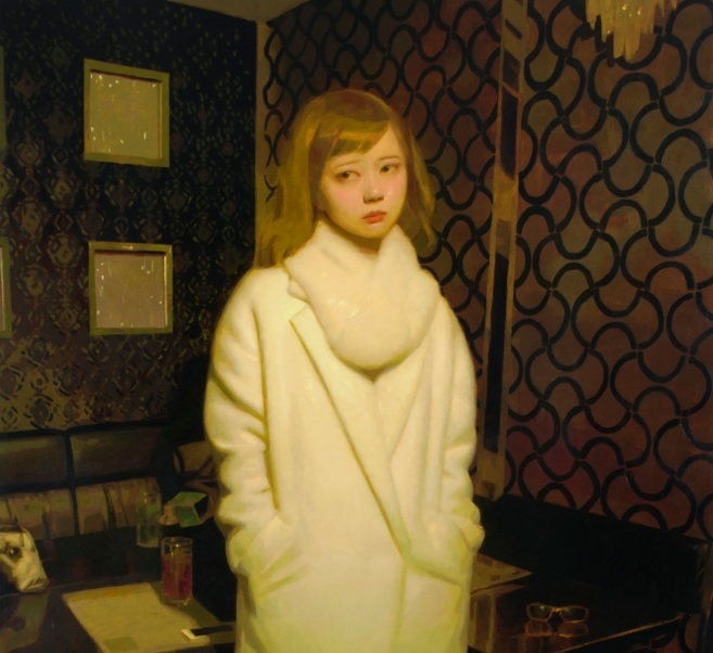 Oil painting of a young girl in a white coat
