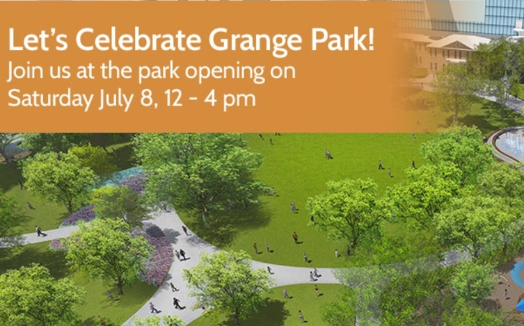 Poster for Grange Park event, July 8, noon to 4 p.m.