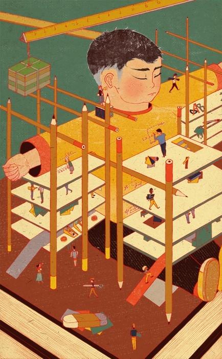 Illustration by Long Hui Wang's called Constructing Future Generations