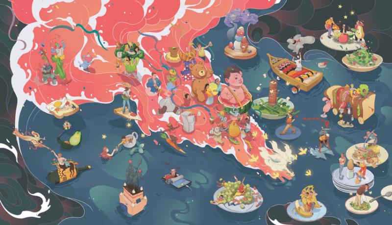 Mural of food illustrations
