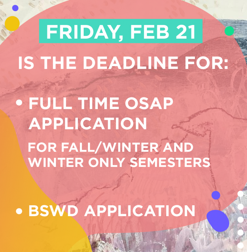 Graphic image with deadline and bullet points of the applications. Due Friday February 21 2020