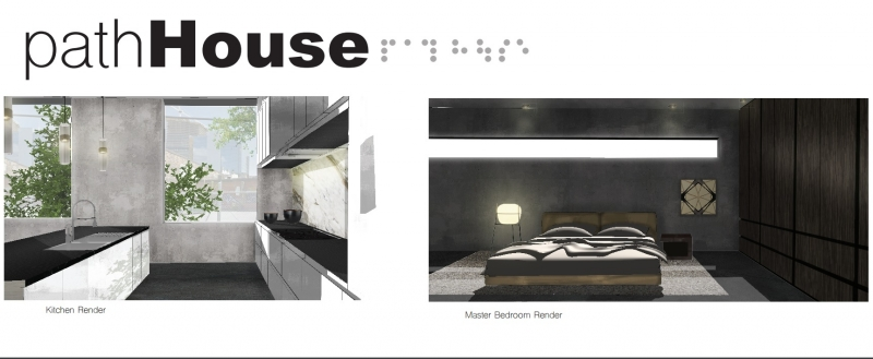 Rendering of a kitchen and bedroom of Path House concept