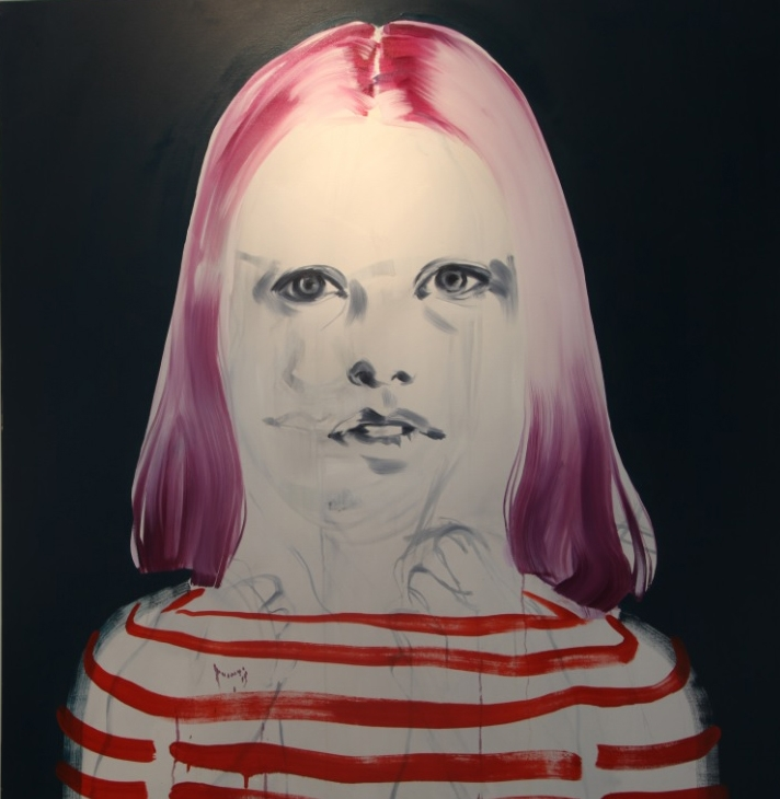 Painting of a female face with purple hair and striped shirt