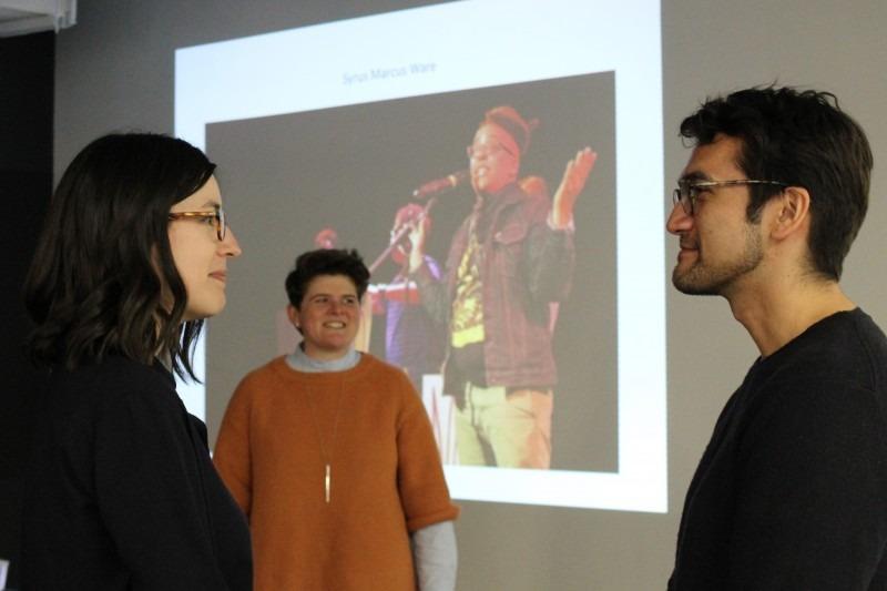 TBA curators Candice Hopkins (left) and Tairone Bastien (right), photo: Mariana D'Alberto