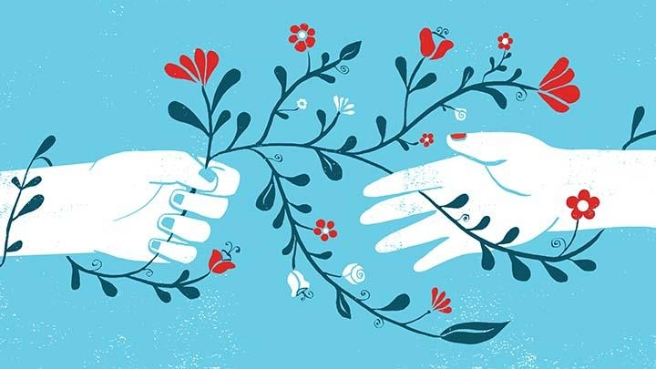Illustration of hands holding red flowers