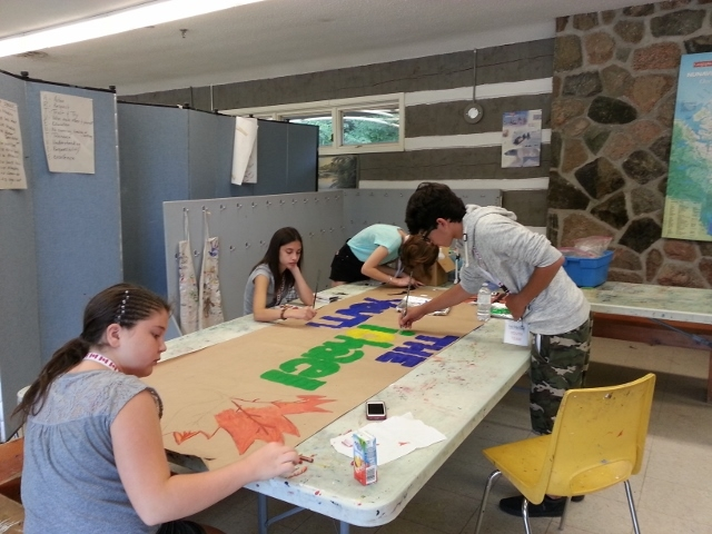 Students explore at the McMichael Canadian Art Collection.