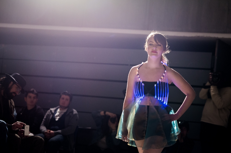 Woman modelling a dress with LED lights
