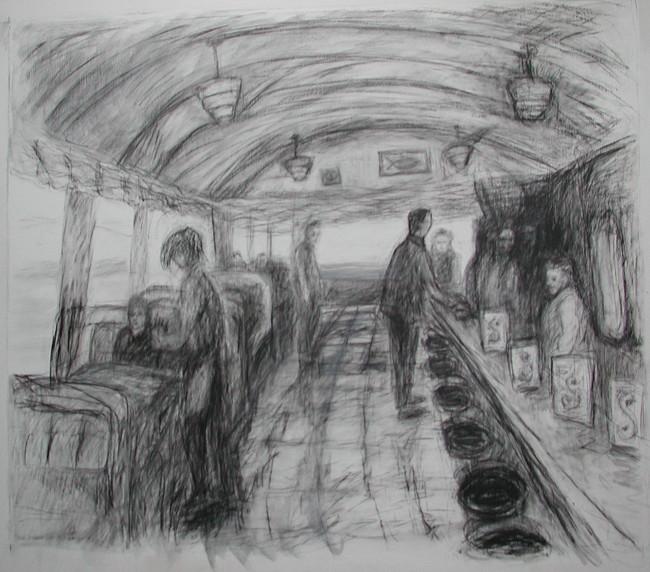 graphite image of humans in corridor