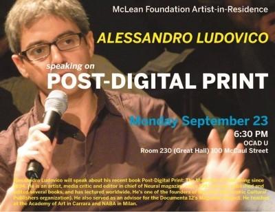 Alessandro Ludovico speaking on Post-Digital Print