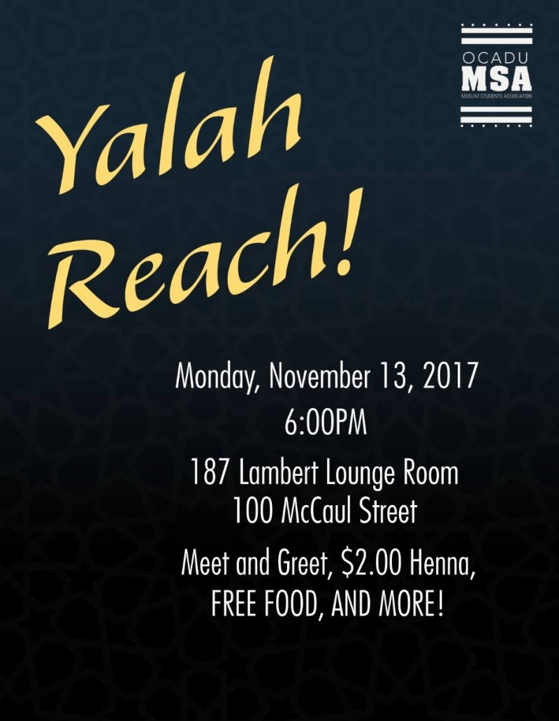 Yalah Reach! Muslim Student Ass'n poster graphic