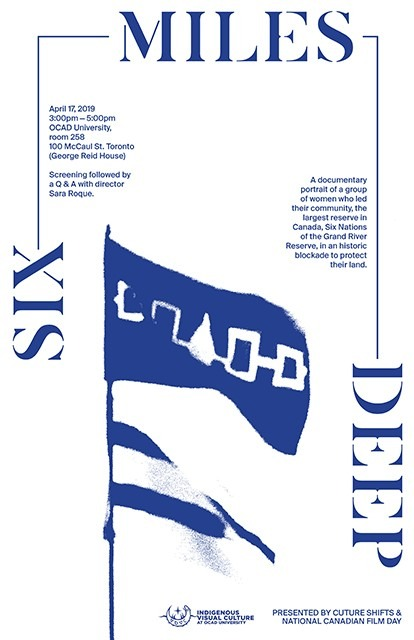 """""""Six Miles Deep"""" Ultramarine blue text and image of flags blowing in the wind on white background"""